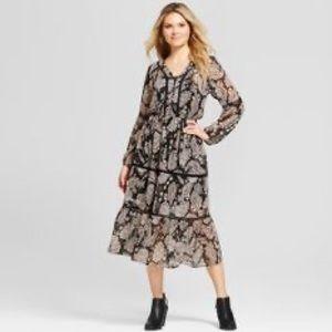 Boho paisley long sleeve midi dress